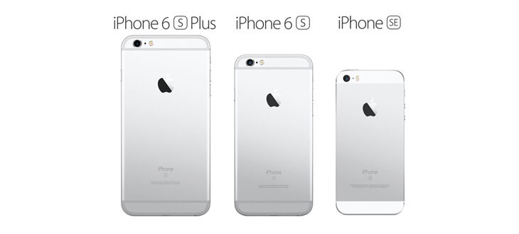 The size difference between 3 iPhone models