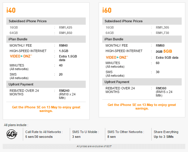 UMobile's iPhone SE packages