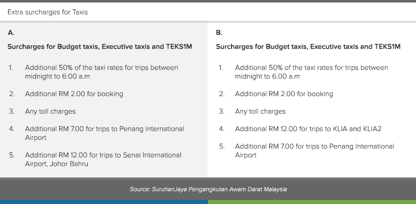 Additional information for taxi extra surcharges.