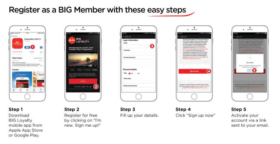 sign up as AirAsia BIG member