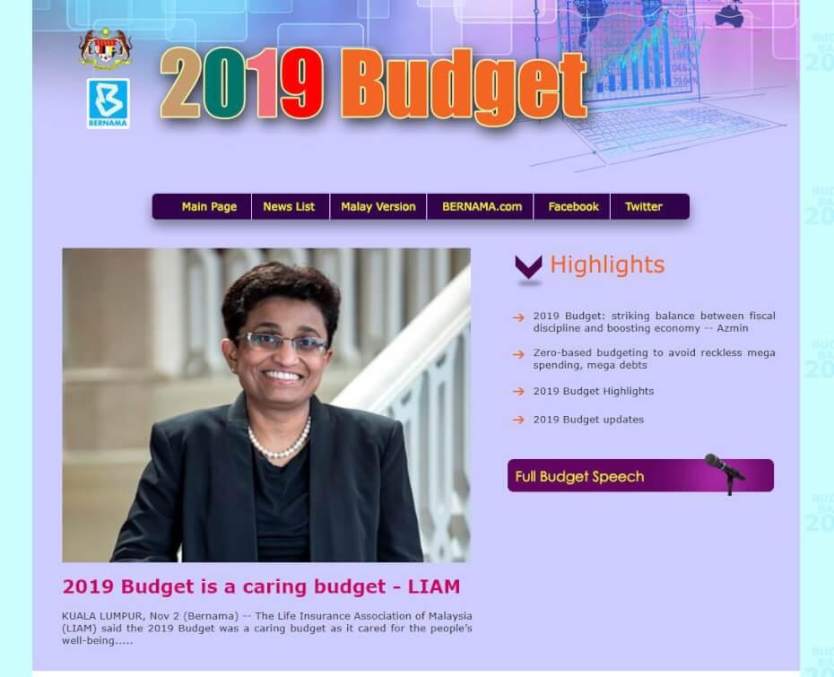 Bernama Budget 2019 portal
