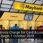 maybank service charge for card and loan repayments over the counter